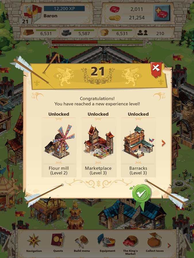 Empire: Four Kingdoms - Level up